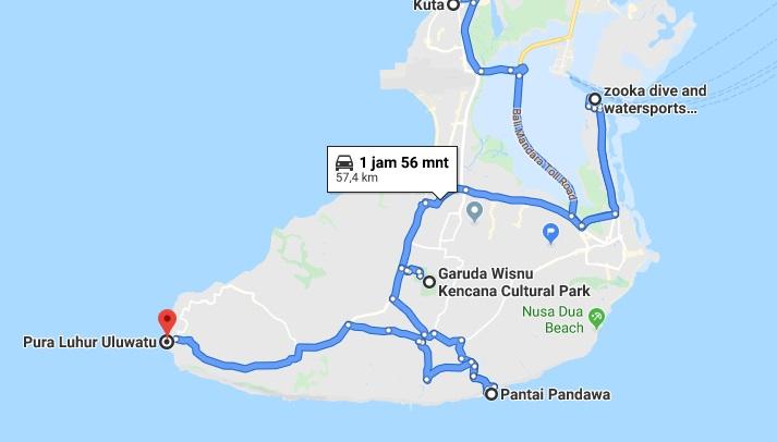 rute wisata di Bali selatan